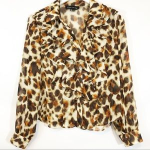 Jones New York leopard print poet top sz 8p